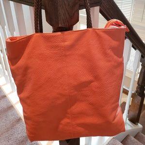 Vegan leather orange tote bag